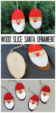 Wood Slice DIY Santa Ornaments - 11 Kid-Friendly Christmas Crafts To Occupy Your., DIY and Crafts, Wood Slice DIY Santa Ornaments - 11 Kid-Friendly Christmas Crafts To Occupy Your Loved Ones During The Season. Wooden Christmas Crafts, Homemade Christmas Gifts, Xmas Crafts, Diy Christmas Ornaments, Simple Christmas, Diy Crafts For Kids, Santa Ornaments, Craft Ideas, Santa Crafts