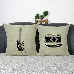 Pillow Case Guitar Camera Cotton linen Blend cushion Car Sofa Chair Pillowcase Square 18x18 inches Cushion cover Home Textile-in Cushion Cover from Home & Garden on Aliexpress.com | Alibaba Group