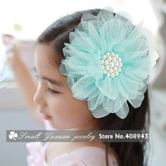 6Pcs/lot Pearl Tulle Flower Hair clips Bridal Party Girl Head flowers/Corsage/brooch/Kids hair accessories/Free Shipping FJ41876-in Apparel & Accessories on Aliexpress.com