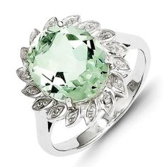 Sterling Silver Rhodium Green Amethyst & Diamond Ring