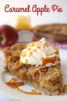 Caramel Apple Pie Recipes This from scratch Caramel Apple Pie is made with fresh apples, salted caramel, streusel, and an easy cinnamon crust. It will be the perfect homemade pie fo. Carmel Apple Pie Recipe, Caramel Apple Crumble, Tarte Caramel, Salted Caramel Apple Pie, Apple Crumble Pie, Apple Pie Bars, Apple Pie Recipes, Caramel Apples, Caramel Pie