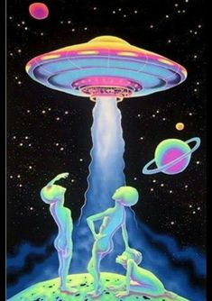 Psychedelic Alien Craft Aliens, Aliens in Art, UFO, X-Files, I Want to Believe Alien Aesthetic, Aesthetic Space, Cyberpunk Aesthetic, Aesthetic Drawing, Aesthetic Pastel, Psychedelic Art, Psychedelic Experience, Art Alien, Trippy Alien