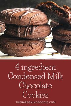These 4 ingredients Condensed Milk Chocolate Cookies are a quick and easy bake. Made with just 4 basic ingredients to create an amazingly delicious co. Quick Cookies, Yummy Cookies, Custard Cookies, Basic Cookies, Sweet Cookies, Chip Cookies, Easy Cookie Recipes, Easy Desserts, Baking Recipes Quick And Easy