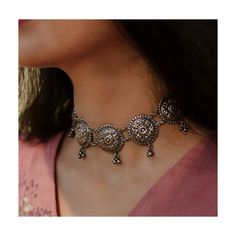 MADE TO ORDER. 15-20 DAYS PROCESSING TIME. Chandra - A beautiful arrangement of circular motifs adorning floral patterns in a necklace that also be worn as a stunning choker. Composition - 92.5% Silver Care - Keep the product away from perfumes, water, moisture & store in a dry fabric bag. This is a handmade produc