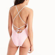 women's lace-up back one-piece swimsuit in stripe - women's swimwear