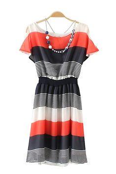 Striped Off-Shoulder Chiffon Color Block Short Sleeeve Dress