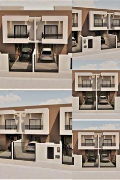Projeto de um condomínio residencial, unifamiliar, com quatro unidades habitacionais e área aproximada construída de 96,26 m2 por sobrado. No pavimento térreo Salas de Estar e Jantar conjugadas à Cozinha, Serviço e um Banheiro Social, são complementados pela garagem e jardim frontal. No pavimento superior dois Dormitórios, um Banheiro social, a lavanderia com varanda posterior e a sacada frontal complementam o projeto. #arquitetura #projetos #residenciais #picarras #sc