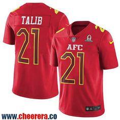 Men's Denver Broncos #21 Aqib Talib Red AFC 2017 Pro Bowl Stitched NFL Nike Game Jersey