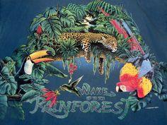 T-Shirt Rainforest Topical Parrot Frogs Leopard Flowers Exotic Blue Habitat XL #SignalSport #GraphicTee