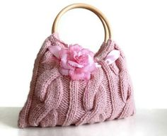 "$55 Knitted pink JUBBJUBB handbag purse with pink flower and wood bag handles- I'm sure I can figure out this pattern for myself. Nothing beats being able to say ""Why yes, I DID make this myself!"""