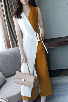 Buy Chicloth Work Surplice Neck Color-block Jumpsuit,Cheap Womens Casual Pants,Cheap Jumpsuits and Rompers. Hijab Fashion, Korean Fashion, Fashion Dresses, Maxi Dresses, Fashion Clothes, Classy Outfits, Casual Outfits, Casual Pants, Fall Outfits