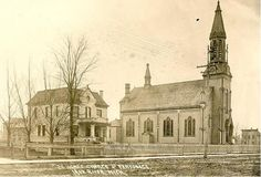 St. Agnes Catholic Church and Parsonage, 704 Fourth Ave, Iron River - ca. 1912 http://www.dcl-lib.org/images/files/Genealogy/Photographs%20of%20Iron%20River%2C%20Iron%20County%2C%20Michigan.pdf … #IronRiver