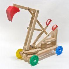 Exaco Toy Wooden Excavator/Digger, Blue