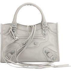 BALENCIAGA 'Mini City' tote bag ($1,183) ❤ liked on Polyvore featuring bags, handbags, tote bags, gray tote bag, mini tote, zippered tote, studded tote and mini purse