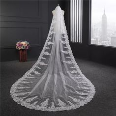 Real Photos 2017 3.5M White/Ivory Beautiful Cathedral Length Lace Edge Wedding Bridal Veil With Comb Wedding Accessories Beaded High Quality Lace Bridal Veils Bridal Veils 3.5m Veils for Bride Online with $79.99/Piece on Faisata's Store | DHgate.com