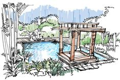freehand still life Simple Garden Designs, Garden Design Plans, Landscape Architecture Drawing, Concept Architecture, Perspective Sketch, Plan Sketch, Simple Poster, Plan Drawing, Landscape Services