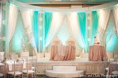 A classy white and turquoise wedding reception for an Indian couple.