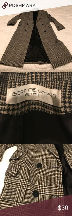 """Bert Newman Winter Coat This coat is beautiful! No size indicated, but fits like a Petite small. The color, patterns and texture are amazing! Perfect for fall with a pop of color pashmina scarf (red would be my preference) I am 5'3"""" and this hits at my mid-calf! Bert Newman Jackets & Coats"""