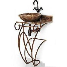 D Vontz Iron Victoria 17  Single Pedestal Bathroom Vanity Base  Altan Wrought Iron Vessel Sink Stand   Vessel sink  Wrought iron  . D Vontz Natural Marble Vessel Single Sink Bathroom Vanity Top. Home Design Ideas