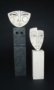 Ceramics by Sue Hanna at Studiopottery.co.uk - Two mounted stoneware heads, height 47cm & 36cm. Produced in 2006.