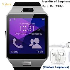 Nokia Asha 206 Compatible and Certified set of Earphones with Mic  DZ09 Bluetooth Smart Watch with SIM Card Slot and Memory Slot upto 16GB supported Watch Phone Remote Camera ( Get Mobile Charging Cable worth Rs 239 FREE & 180 days Replacement Warranty )