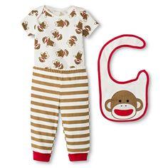 d044e0f972 Baby Starters Sock Monkey Newborn 3 Piece Bib Set - Starters