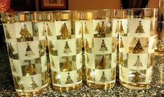 Set two of Christmas tree glasses, Culver Golden Spruce which I have bejeweled.