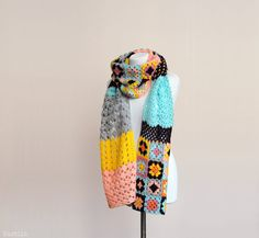 OOAK Crochet scarf granny square scarf Long scarf Big by Nastiin More