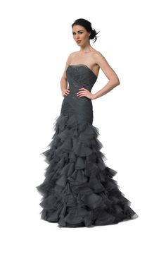 Hand-beaded French tulle and silk organza strapless gown in charcoal.