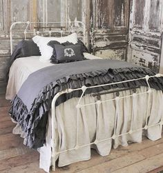 Antique iron bed by FullBloomCottage on Etsy