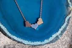 Super cute Triple Heart Necklace.  Rose gold, silver, & gold hearts!  #Blissfulhaze #Hearts