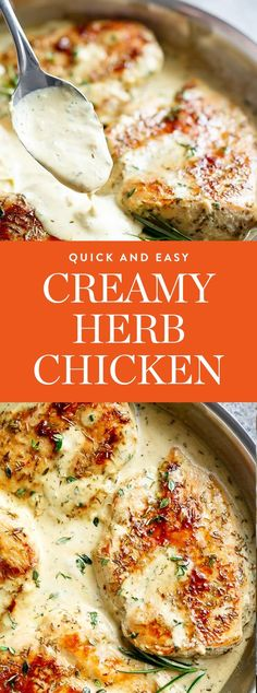 11 Easy Skillet Chicken Dinners That Are Anything but Boring Get the recipe for this Creamy Herb Chicken by Cafe Delites, and get more skillet chicken recipes you'll love. Chicken Skillet Recipes, Best Chicken Recipes, Turkey Recipes, Skillet Meals, Crockpot Meals, Entree Recipes, Cooking Recipes, Healthy Recipes, Healthy Dinners