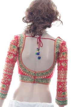 Red and Green Traditional Style Blouse