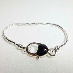 8 1/4  European Style Charm Bracelet Chain with Black