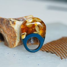 Resin Ring with Amber and Turquoise Resin Resin Jewelry