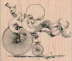 Rubber stamp wood Octopus Otto's Sweet Ride by Brian Kesinger 19049   pinkflamingo61 - Craft Supplies on ArtFire
