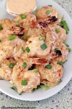 Bang Bang Shrimp - a copycat restaurant recipe (Bonefish Grill). I'm obsessed with bang bang shrimp! Think Food, I Love Food, Good Food, Yummy Food, Tasty, Shrimp Recipes, Fish Recipes, Great Recipes, Yummy Recipes