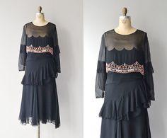 Pandora's Box dress • 1920s silk chiffon beaded dress • vintage 20s dress