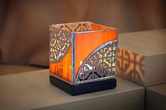 Stained Glass and Metal Candle Holder  Orange by KrisArtGlass, $72.00