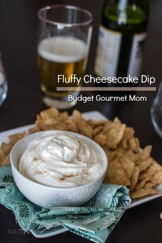 Fluffy Cheesecake Dip  Total Time: 2 minutes    Yield: 2 1/2 cups    Ingredients    1 - 8 oz package of cream cheese, softened  1 - 8 oz container of whipped topping  cinnamon and sugar for sprinkling  Instructions    Place the cream cheese and whipped topping in a bowl and stir vigorously until combined.  Sprinkle with cinnamon and sugar and serve with cinnamon sugar chips.