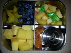 Adult Snack Bento -star fruit -blueberries -apple -meat stick -cheese -dried tangerine -chocolate hazelnut spread
