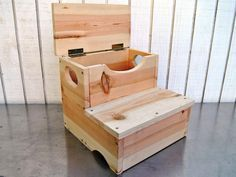 Woodworking For Kids Woodworking Project: How to Build a Storage Step Stool for Kids : Home : DIY Network Small Woodworking Projects, Learn Woodworking, Popular Woodworking, Woodworking Furniture, Diy Wood Projects, Furniture Plans, Woodworking Plans, Youtube Woodworking, Woodworking Workshop