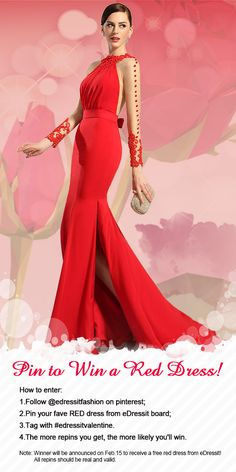 Pin your fave RED dress and win it on Feb.15.  #edressitvalentine