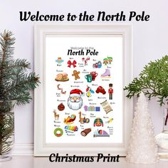 How cute is this? An A to Z of all things North Pole, complete with matching graphics! What a fun and thrifty way to decorate with the kids this holiday - justs print it out and pop int a frme from the local dollar store! done! #christmas #northpole #santa #christmasprintable #christmasprintables #christmaswallart #instantdownload #xmaswallart #christmaskids #xmaskids #musthave