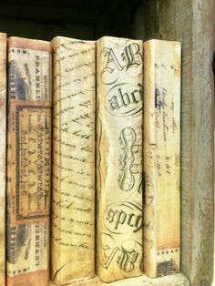 "These are actual books, I removed the paperback cover and used "" parchment tissue paper"" to decoupage onto the spine ~ Each book is different ~"