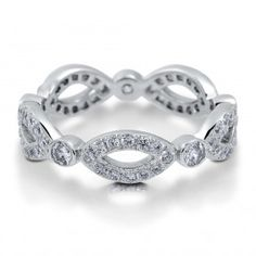 Sterling Silver Cubic Zirconia CZ Woven Eternity Band Ring 0.85 ct.tw