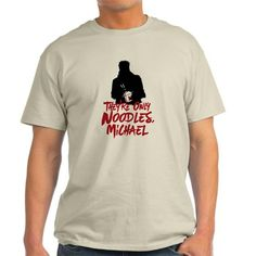 """They're Only Noodles Michael T-Shirt Description: This design is inspired by the scen in the 80s vampire classic The Lost Boys, when David offers an a illusionary box of worms """"they're only noodles Michael""""."""