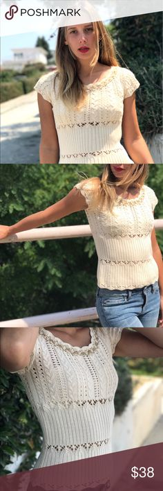 Vintage off white crochet blouse Super duper ultra cute Blouse. Super vintage as well. Very boho and romantic. No flaws. Avenue HQ. No size (or maybe in the tag but it's faded). I wear a Small and this fits perfectly. Has some stretch. #vintage #blouse #top #crochet Vintage Tops Blouses