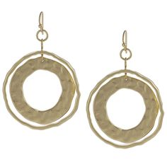 Journee Collection Goldtone Hoop Dangle Earrings  @Overstock.com - These glamorous earrings by Tressa Collection feature two hammered metal circles that hang from a dainty hook. This jewelry is fashioned of goldtone base metal with brushed and satin finishes.http://www.overstock.com/Jewelry-Watches/Journee-Collection-Goldtone-Hoop-Dangle-Earrings/7585708/product.html?CID=214117 $14.29