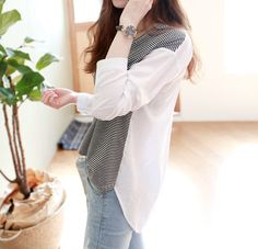 Jolly Club Long-Sleeve Striped-Panel Top   YESSTYLE